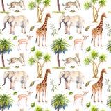 Дикие животные - жираф, слон, гепард, антилопа в саванне и пальмы повторять предпосылки акварель бесплатная иллюстрация