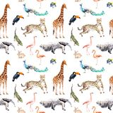 Дикие животные и птицы - зоопарк, живая природа - жираф, гепард, toucan, фламинго, другое картина безшовная акварель иллюстрация штока