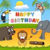 Дикие животные с днем рождения иллюстрация вектора