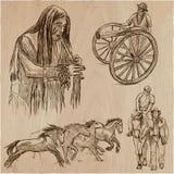 Дикие Запады и коренные американцы - нарисованный рукой пакет вектора линия Стоковое Фото