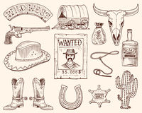 Дикие Запады, выставка родео, ковбой или индейцы с лассо шляпа и оружие, кактус с звездой шерифа и бизон, ботинок с Стоковое фото RF