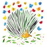 Дикобраз и бабочки Стоковые Изображения