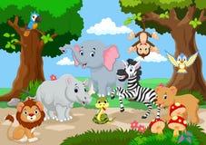 Дикое животное играя в красивом саде иллюстрация вектора