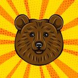 Дикое животное портрета бурого медведя Иллюстрация вектора на шуточном Стоковые Изображения RF