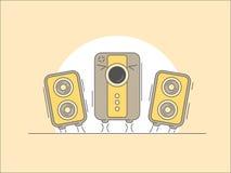 Дикторы музыки с иллюстрацией шаржа сабвуфера Стоковое Изображение RF