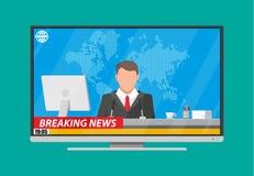 Диктор новостей в студии иллюстрация штока