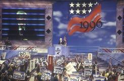 Диктор дома Ньют Гингрич смеется над во время его речи на общенациональном съезде 1996 республиканцев в Сан-Диего, Калифорнии Стоковые Фотографии RF