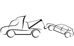 Динамическая иллюстрация эвакуатора с автомобилем Стоковое Фото