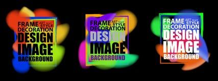 Динамические абстрактные крышки плаката форм жидкости предпосылки установили с битником и цветами Мемфиса Рамка для современного  Стоковое Фото
