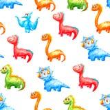 Динозавры безшовной картины акварели милые других цветов и типов на белой предпосылке иллюстрация вектора