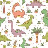 Динозавры и доисторические заводы Картина вектора безшовная в стиле doodle и мультфильма иллюстрация вектора