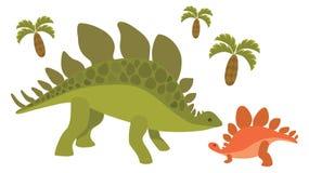 Динозавры; мама и младенец Бесплатная Иллюстрация