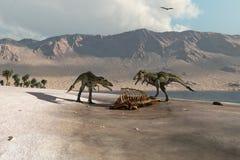 Динозавры фуражируя на пляже Стоковые Изображения