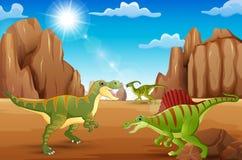 Динозавры шаржа счастливые живя в пустыне иллюстрация штока