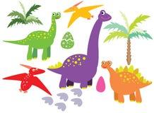 Динозавры vector комплект иллюстрация вектора