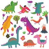 Динозавры vector комплект Стоковое Изображение