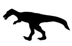 Динозавр силуэта. Черная иллюстрация вектора. Стоковое фото RF