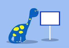 Динозавр с пустым знаком иллюстрация вектора