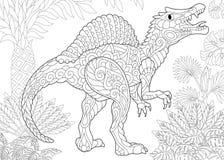 Динозавр spinosaurus Zentangle бесплатная иллюстрация