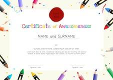 Диплом детей или шаблон сертификата с границей вещества картины бесплатная иллюстрация