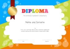 Диплом детей или шаблон сертификата с шаржем s чертежа руки иллюстрация штока