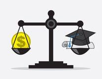 Диплом денег масштаба иллюстрация вектора