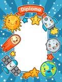 Диплом космоса Kawaii Doodles с милым выражением лица Иллюстрация солнца шаржа, земли, луны, ракеты бесплатная иллюстрация