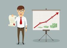 Диплом полученный бизнесменом для увеличения продаж иллюстрация вектора
