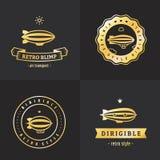 Дирижабельный набор вектора логотипа золота блимпа Часть первая иллюстрация вектора