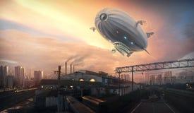 Дирижабль в небе сверх Стоковая Фотография RF