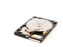 Дисковод жесткого диска, внутри HDD изолированный на белой предпосылке Стоковое Изображение