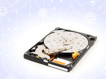 Дисковод жесткого диска, внутри HDD изолированный на белой предпосылке Стоковые Фото