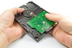 Дисковод жесткого диска в руках ` s инженера на белой предпосылке Стоковое Изображение RF