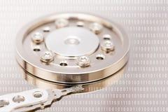 Дисковод жесткого диска и двоичные числа компьютера стоковое фото