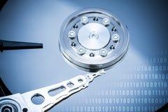 Дисковод жесткого диска и двоичные числа компьютера стоковое фото rf