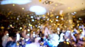 Диско, банкет, люди запачканные танцы предпосылки Новый Год торжества сток-видео