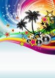 диско танцульки предпосылки тропическое Стоковое Изображение