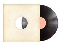 Диск записи винила в бумажном изолированном рукаве Стоковое Изображение RF