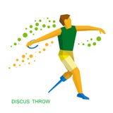 Диск физически неработающего спортсмена бросая Плоский значок спорта Стоковое фото RF