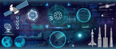 Дисплей головы поднимающий вверх, стиль HUD UI Комплект космоса иллюстрация штока