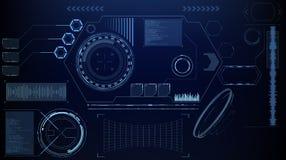 Дисплей научной фантастики футуристический накаляя HUD Экран технологии реальности Vitrual стоковое изображение rf