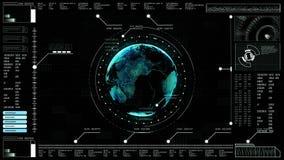 дисплея головы интерфейса предпосылки Высок-техника земля цифрового абстрактного поднимающего вверх голографическая иллюстрация вектора