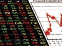 Дисплей ежедневных рыночной цены и цитаты фондовой биржи с диаграммой Стоковая Фотография RF