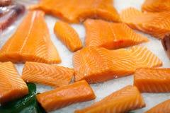 Дисплей замороженных salmon кусков для продажи на a Стоковое Фото