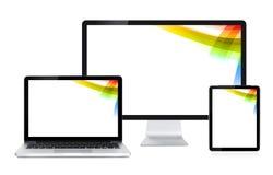 Дисплей, компьтер-книжка и таблетка компьютера стоковое изображение rf