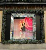 Дисплей окна праздников на Пятом авеню мешков озаглавил землю ` ` 1000 наслаждений в Манхаттане Стоковое Фото