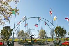 Дисплей поля городка тюльпана Стоковое Изображение