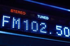 Дисплей радио тюнера FM Стерео цифровая настроенная станция частоты Стоковое Изображение RF