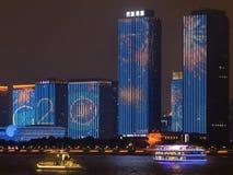 Дисплей саммита G20 вдоль Рекы Qiantang, Ханчжоу, Китая стоковое изображение