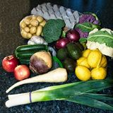 Дисплей смешанных свежих овощей Стоковые Фотографии RF